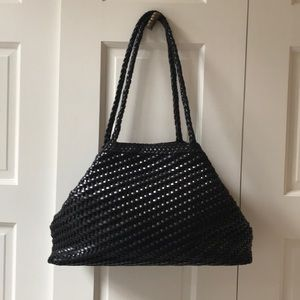 CEM black leather weaved shoulder bag